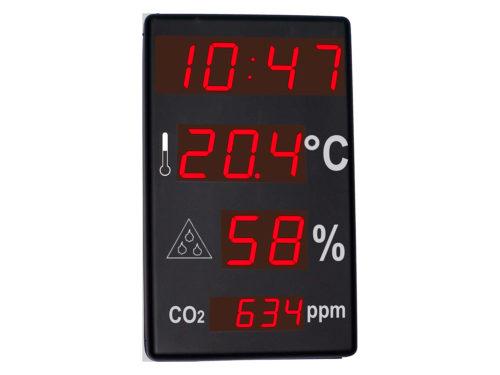 Reloj, termómetro, higrómetro, CO2